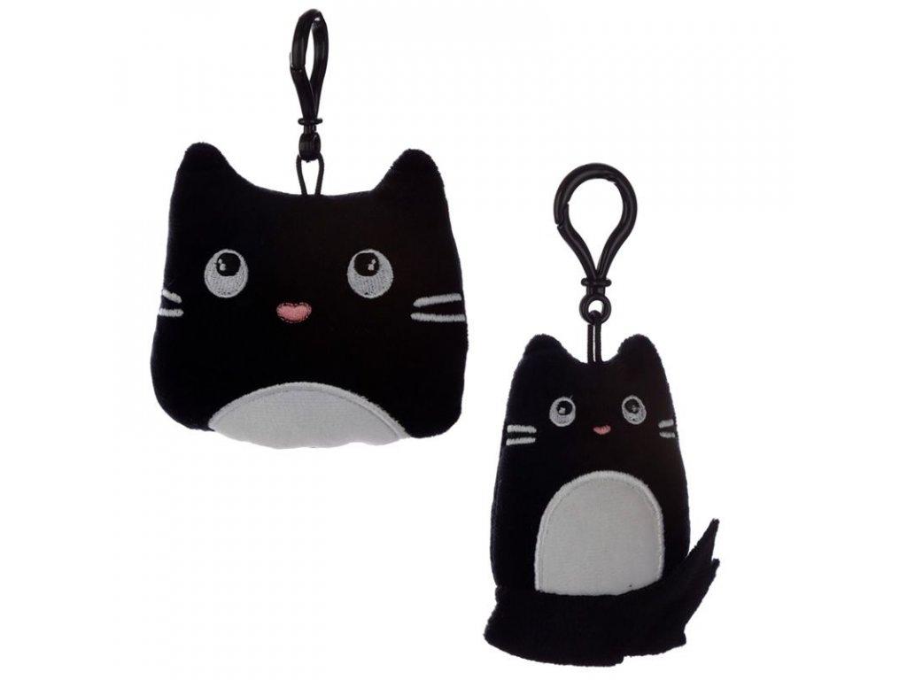 klíčenka plyšová přívěsek kočka s kočkou kočičí černý