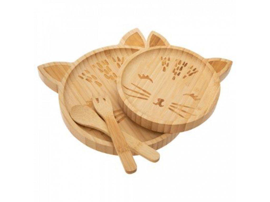 bambusový jídelní set kočka s kočkou kočičí