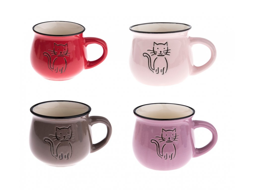 hrnek buclák kočka s kočkou kočičí keramika mix
