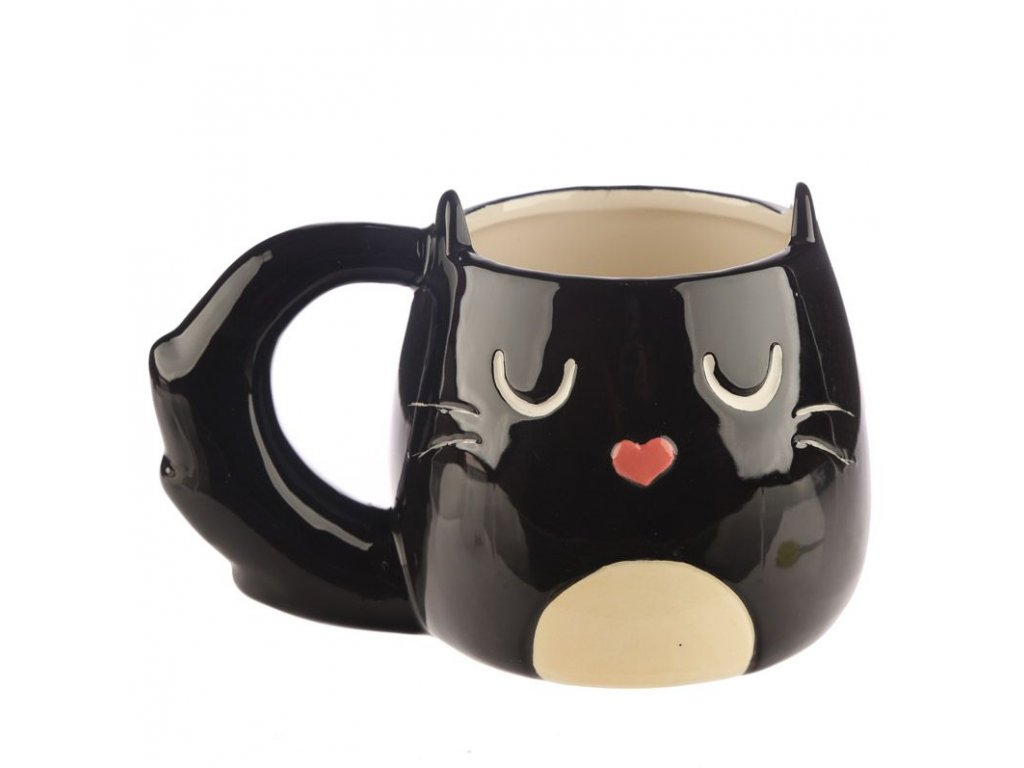hrnek kočka s kočkou kočičí černý ocásek 2
