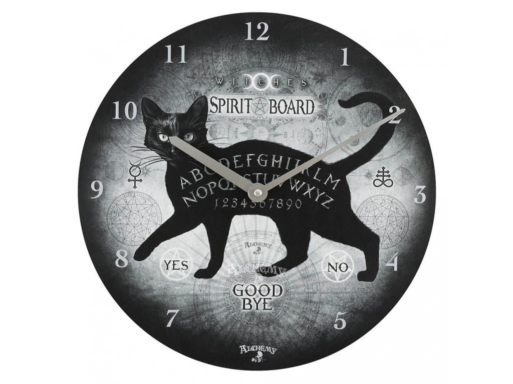 hodiny kočka s kočkou kočičí kouzelnické spirit board