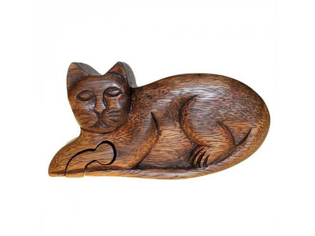 box krabička šperkovnice kočka s kočkou kočičí dřevo 3