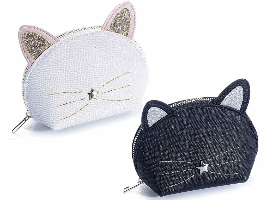 peněženka klíčenka kočka s kočkou kočičí černá bílá
