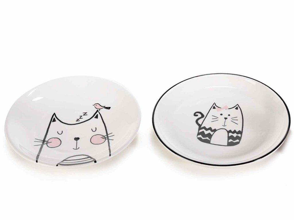 keramický talíř s kočkou kočka kočičí