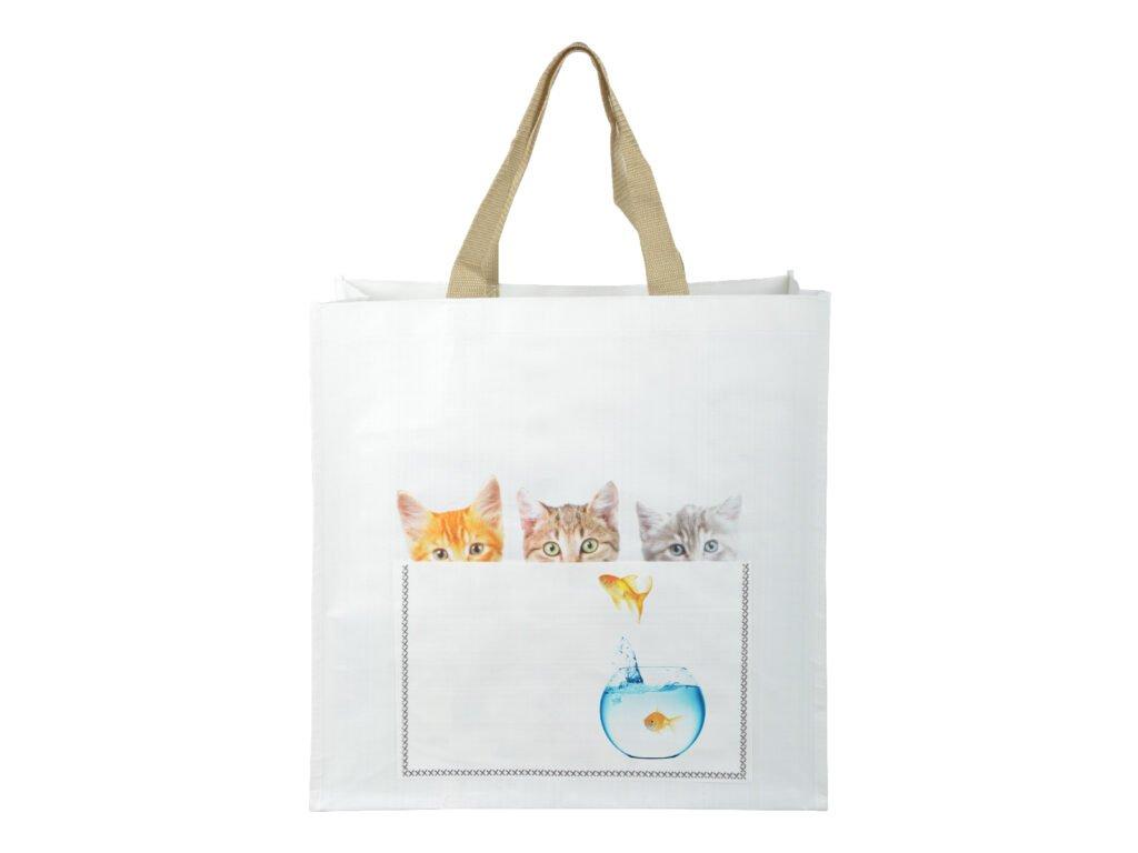 nákupní taška kočka s kočkou kočičí kotě koťata rybička