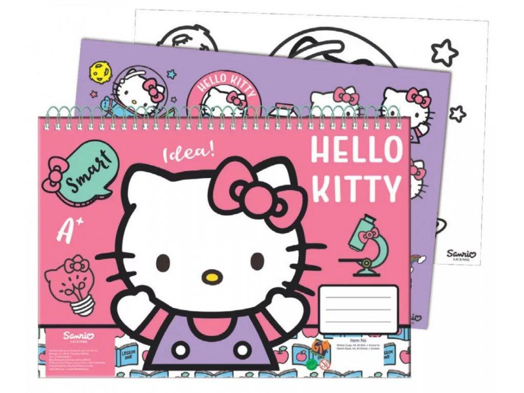 skicák se samolepkami kočka s kočkou kočičí Hello Kitty