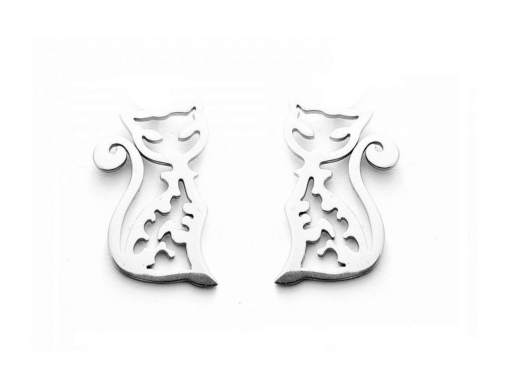 náušnice pecky kočka s kočkou kočičí chirurgická ocel kopie