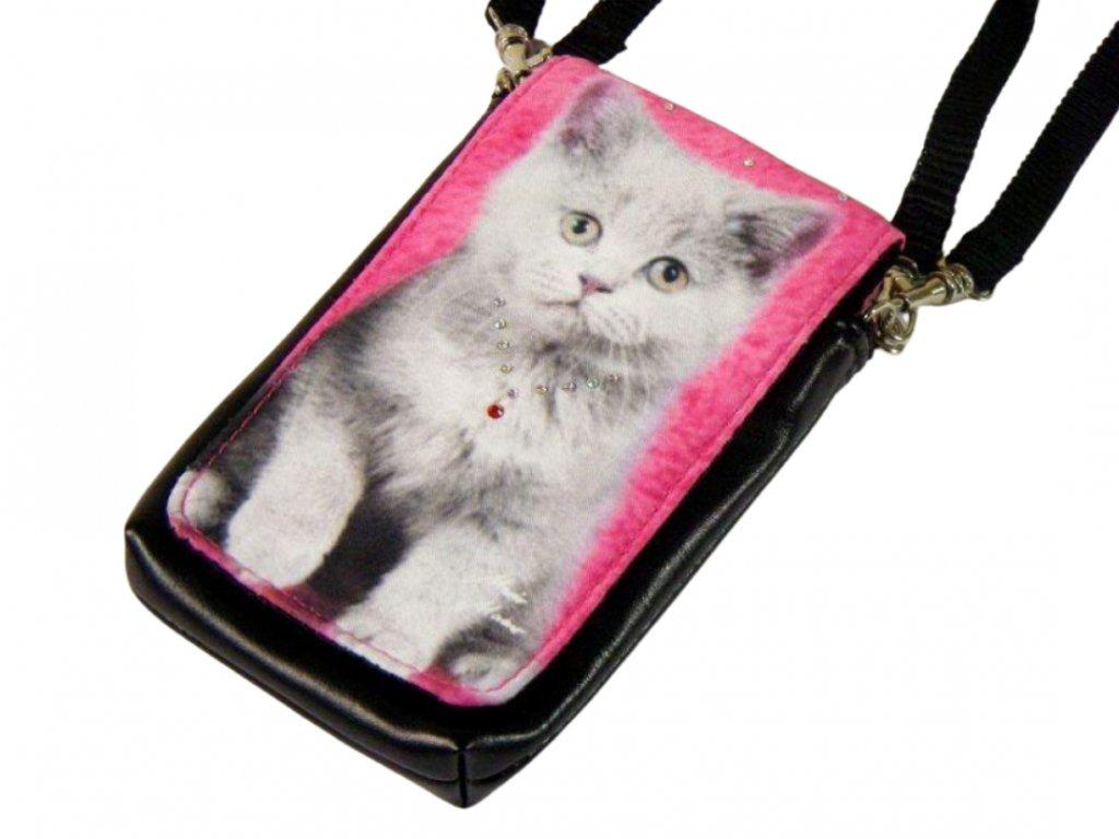 kabelka kočka s kočkou kočičí kotě na mobil růžová 1