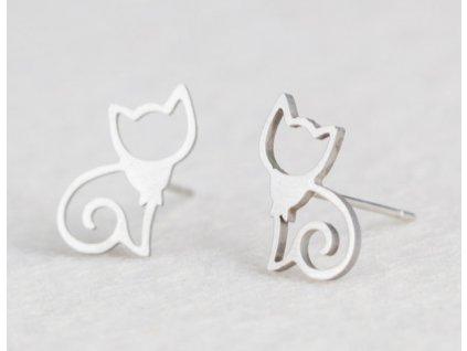 Ocelové náušnice kočka I