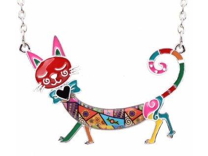 náhrdelník etiazok kočka s kočkou kočičí mačka mačacie email smalt