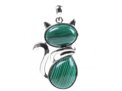 Náhrdelník kočka - malachit