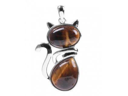 Náhrdelník kočka - tygří oko