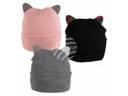 Čepice kočka s ušima, čumáčkem a fousky