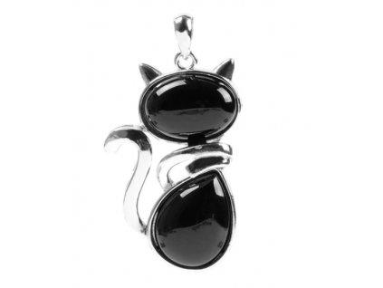 Náhrdelník kočka - černý onyx