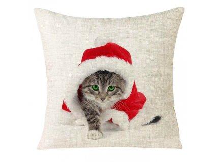 kočka polštář vánoce