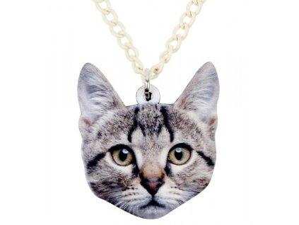 Náhrdelník mourovatá kočka