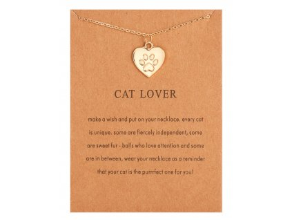 náhrdelník kočka s kčokou tlapka packa kočičí zlatý srdíčko srdce