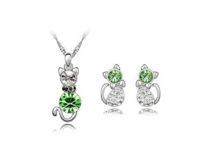 set kočka kočičí náhrdelník náušnice zelený