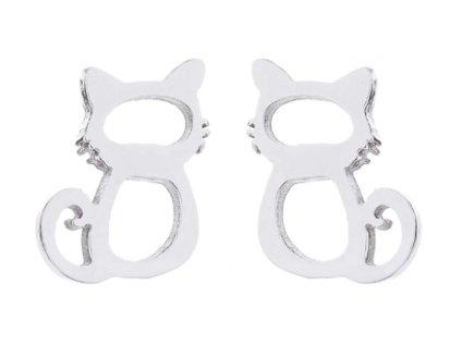 Ocelové náušnice kočka IV