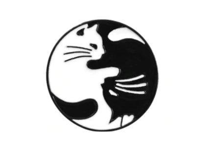 kočičí brož kočka jin jang jinjang