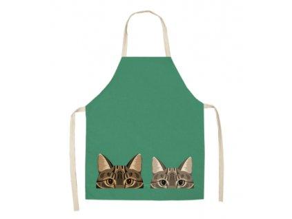 zástěra dvě kočky zelená