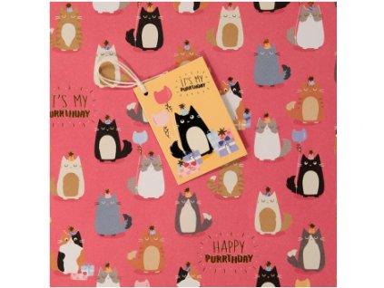 Dárkový balící papír kočka s jmenovkou