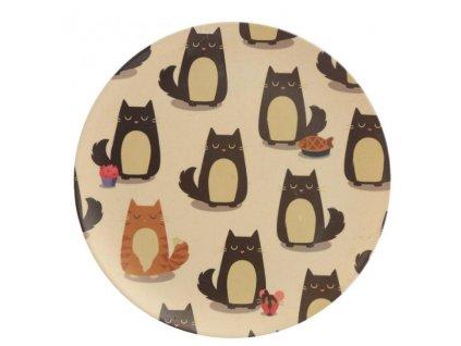 ekologický talíř bambus kočka s kočkami