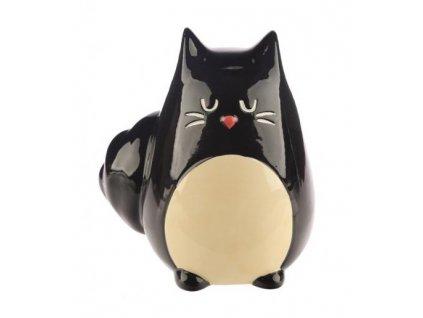 pokladnička kasička kočka černá keramická –2