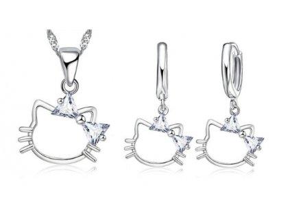 Set náušnice a náhrdelník kočka Kitty s křišťálovou mašličkou