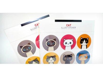 Kulaté samolepky kočka