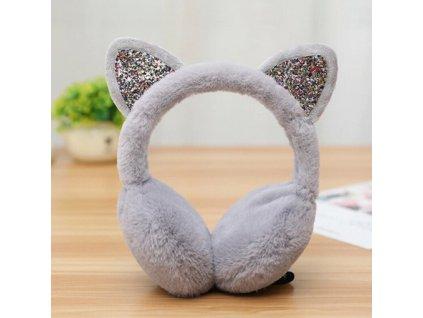 Klapky na uši kočka s oušky - šedé, bílé