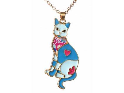 kočka emailová mozaika náhrdelník