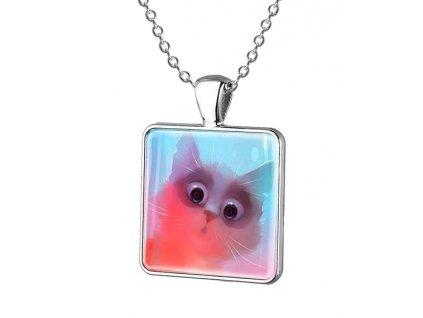 náhrdelník přívěsek barevná kočka