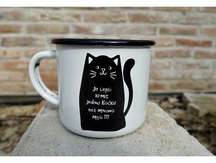 hrnek smalt plecháček černá chytrá kočka 1