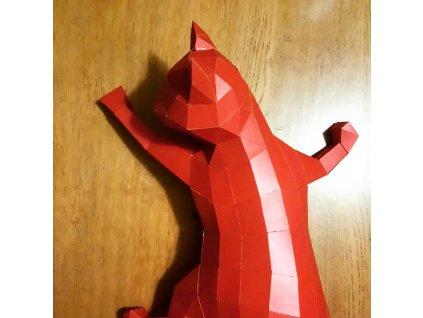 kočka origami kočičí papírová skládačka červená