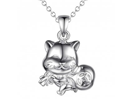 kočka zlodějka pro štěstí přívěsek náhrdelník