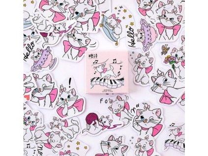 samolepky kočka kočička růžová 2