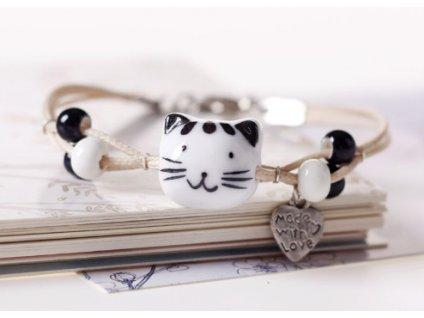 náramek porcelánová kočka s kočkou 4