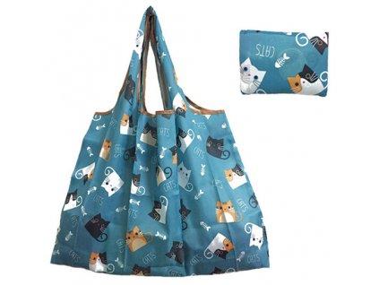 nákupní taška skládácí kočka s kočkou kočičí