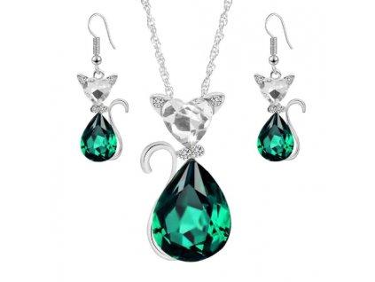 smaragdová kočka náhrdelník náušnice set křišťál kočičí