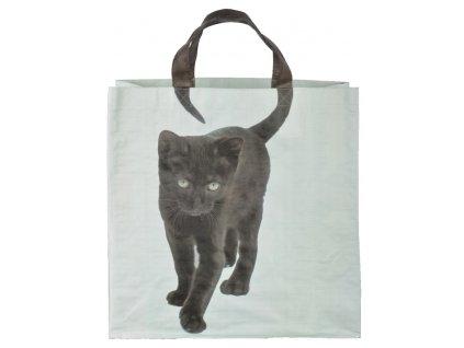 nákupní taška černá kočka s ocáskem