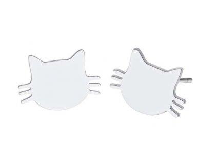 náušnice kočka hlava s vousky ocelové