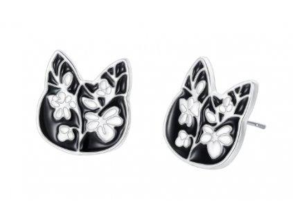 náušnice kočka hlava černá s květy 2