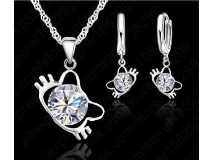 set kočka náušnice náhrdelník hello kitty