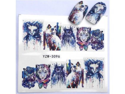 samolepky na nehty abstraktní kočka