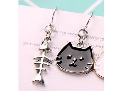náušnice email kočka ryba 2