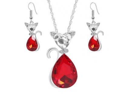 set kočka náhrdelník náušnice swarowski červená rudá