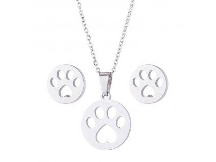 set náušnice náhrdelník kočka tlapka ocelový
