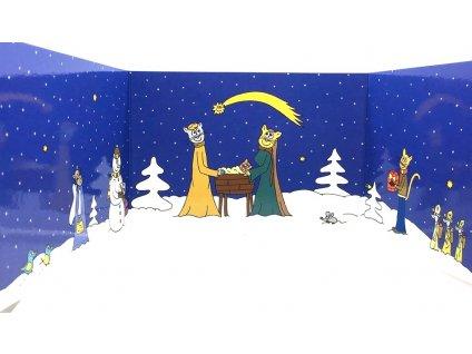 vánoční přání betlém kočka s kočkou kočičí 2