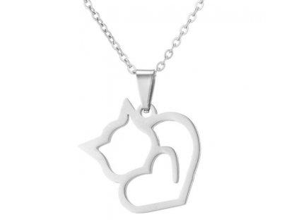 přívěsek kočka ocel kočičí srdce srdíčko